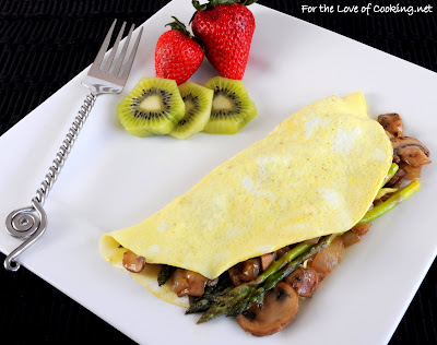Caramelized Mushroom, Onion, Asparagus and Extra Sharp White Cheddar Omelet