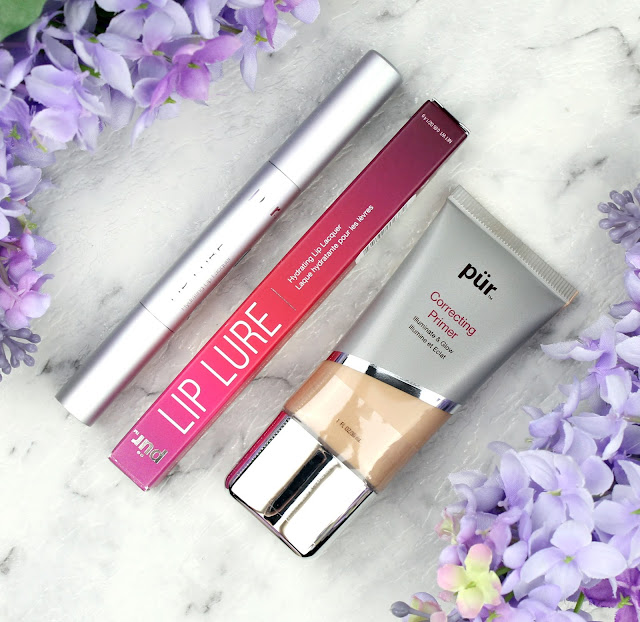 Pür Cosmetics Correcting Primer Illuminate & Glow Peach Lip Lure Hydrating Lip Lacquer Belle
