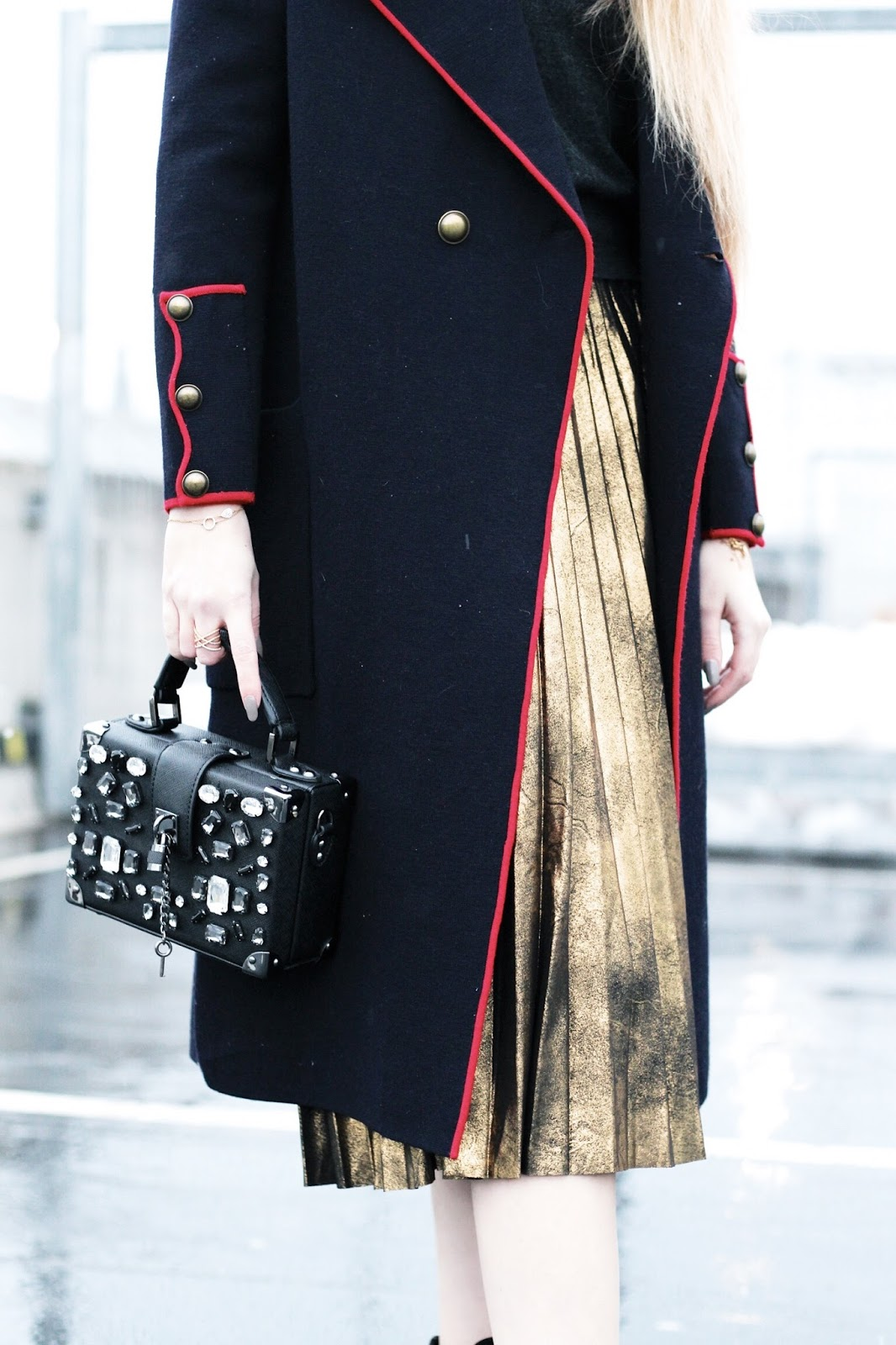 Layering a metallic gold midi skirt fashion styling
