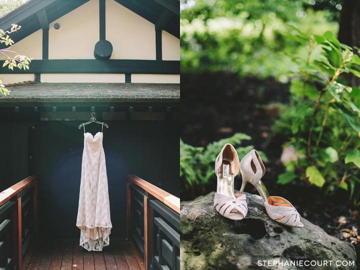 elegant strapless wedding dress and badgley mischka heels