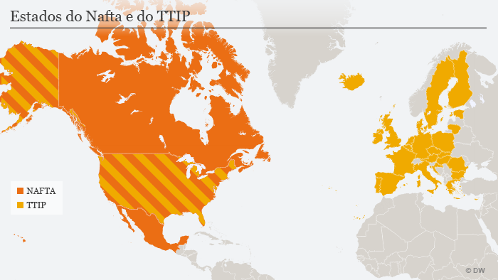 Mapa do TTIP e do Nafta