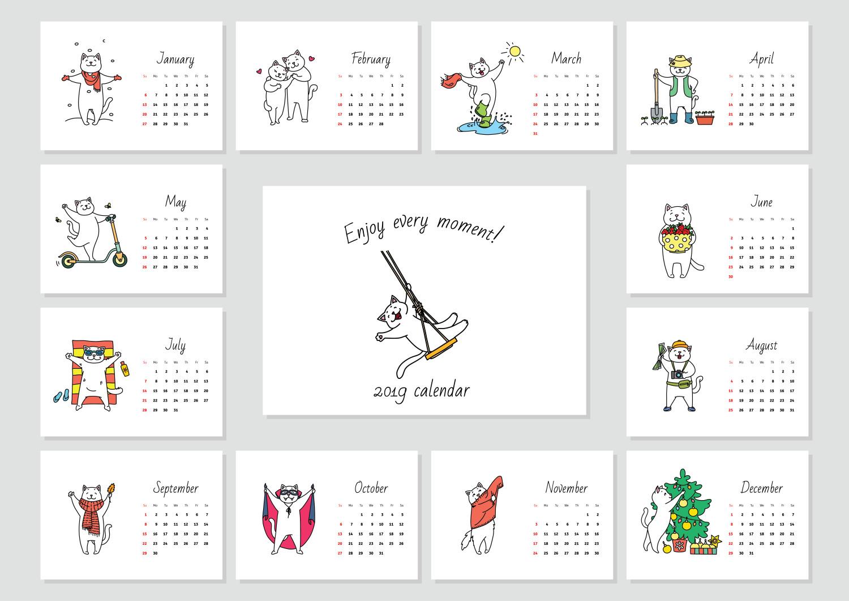 kalendar kartun kucing 2019