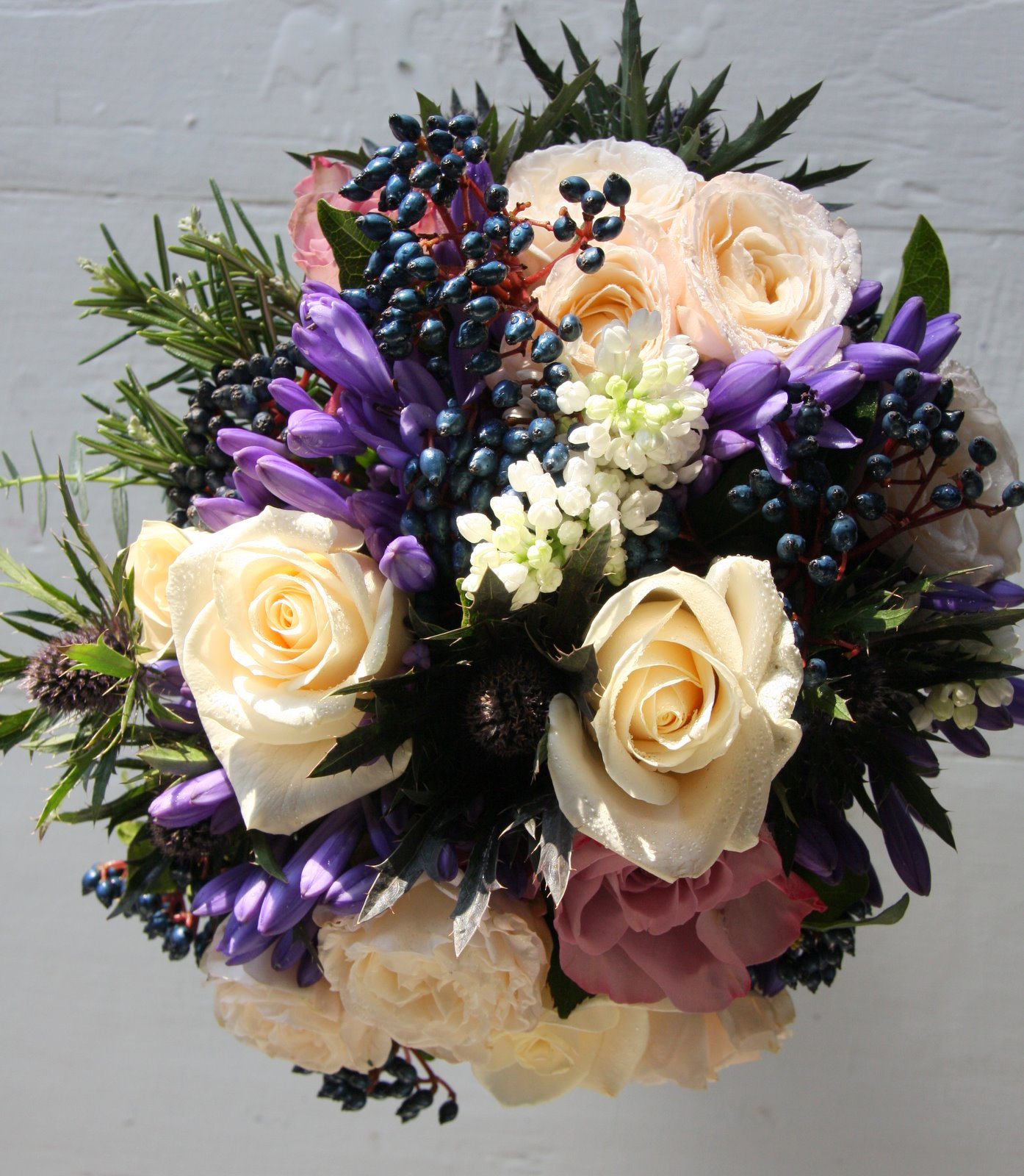 Wedding Flowers Lancashire: The Flower Magician: Winter Wedding Bouquet To Tone With Blue