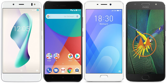 bq Aquaris V Plus vs Xiaomi Mi A1 32G vs Meizu M6 Note vs Motorola Moto G5s Plus