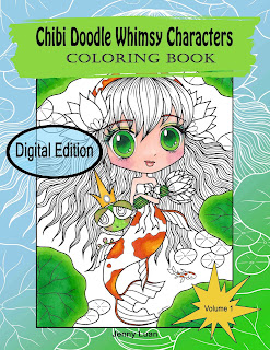 Chibi Doodle Whimsy Characters PDF coloring book in Esty shop