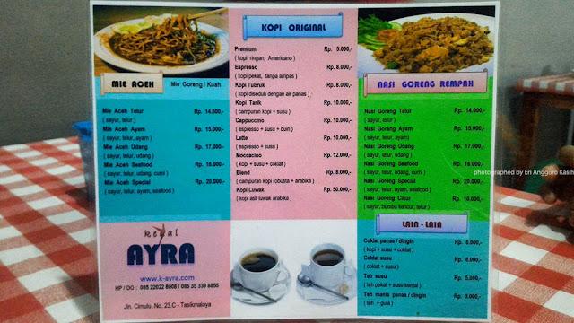 Daftar menu KedaiAyra Tasikmalaya.