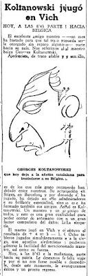 Recorte de El Mundo Deportivo destacando las simultáneas a la ciega que Koltanowski dio en Vic en 1934
