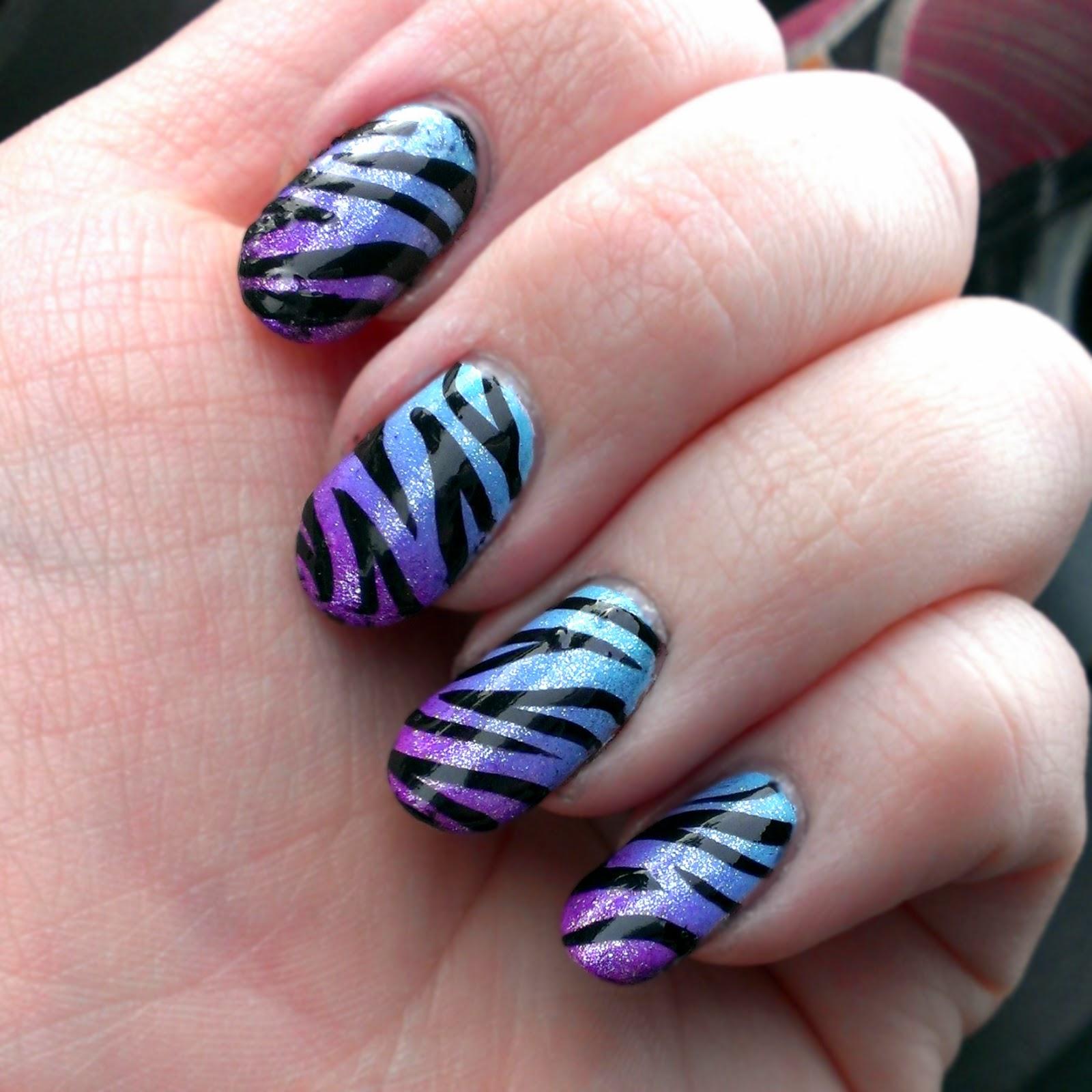 Nail Art Zebra Stripes: Nail It With NeNe: Blue/Purple Ombre Zebra Nail Art