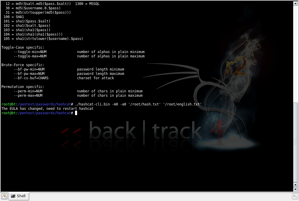 Hashcode Cracking using Hashcat| Backtrack 4 Tutorials Part