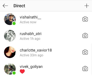 Find who is online on Instagram via direct inbox