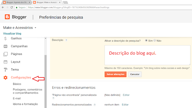 Criando a Metatag no blog