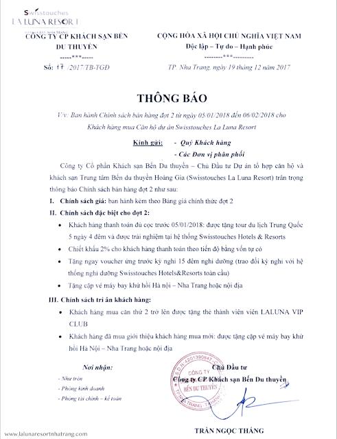 chính sách bán hàng đầy hấp dẫn của La Luna Resort Nha Trang