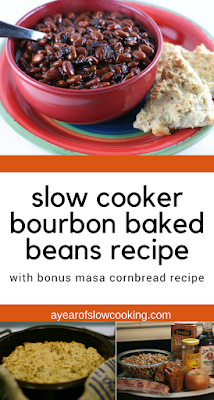 This is the best baked bean recipe, ever! Using bourbon, brown sugar, and bacon -- these beans are naturally gluten free and you can use apple cider instead of the bourbon if you don't want to use alcohol. There's a bonus recipe inside for homemade masa cornbread, too.