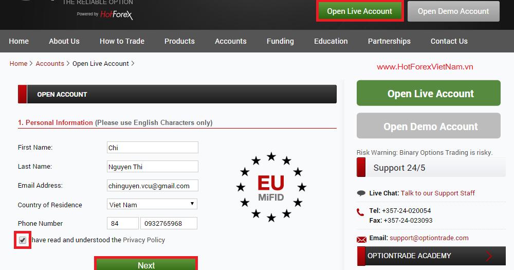 Option trade hotforex