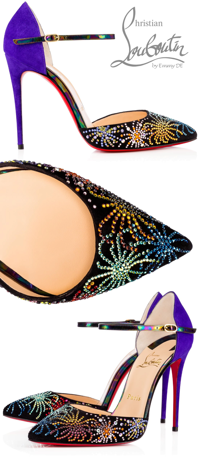 Brilliant Luxury ♦ Christian Louboutin Rivierina On Fire Veau Velours Sling Pumps