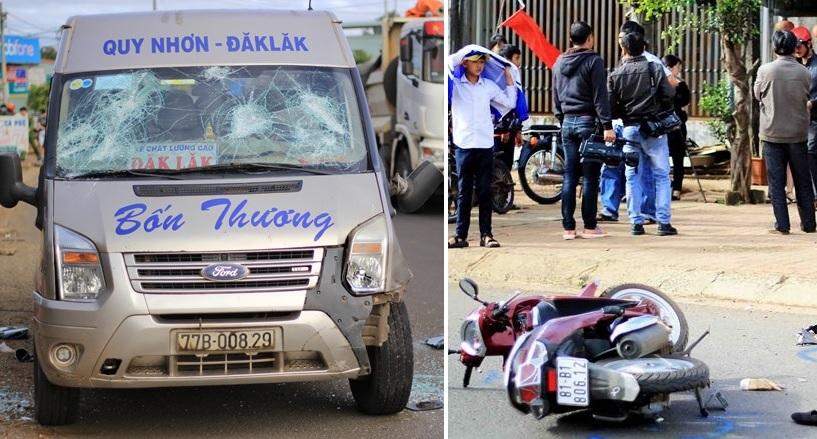 Gia Lai: Xe khách 16 chỗ gây tai nạn liên hoàn, 1 người chết, nhiều người bị thương