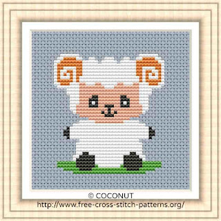 BABY SHEEP, FREE AND EASY PRINTABLE CROSS STITCH PATTERN