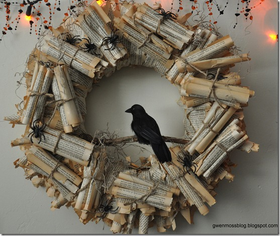 Spooky Halloween Book Page Crafts - Edgar Allen Poe Wreath