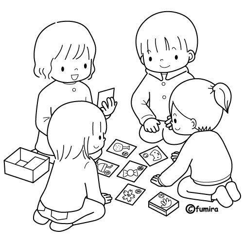 Tranh cho bé tô màu bốn bạn đang chơi
