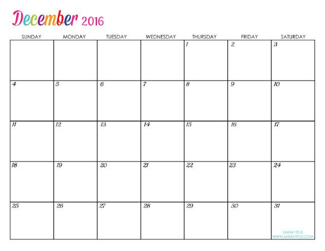 December 2016 Printable Calendar | Blank Templates