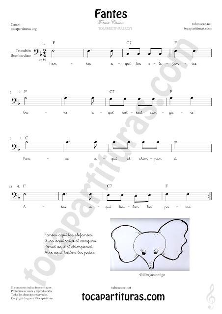 Trombón, Tuba Elicón y Bombardino Partitura de Fantes Sheet Music for Trombone, Tube, Euphonium Music Scores (tuba en 8ª baja)