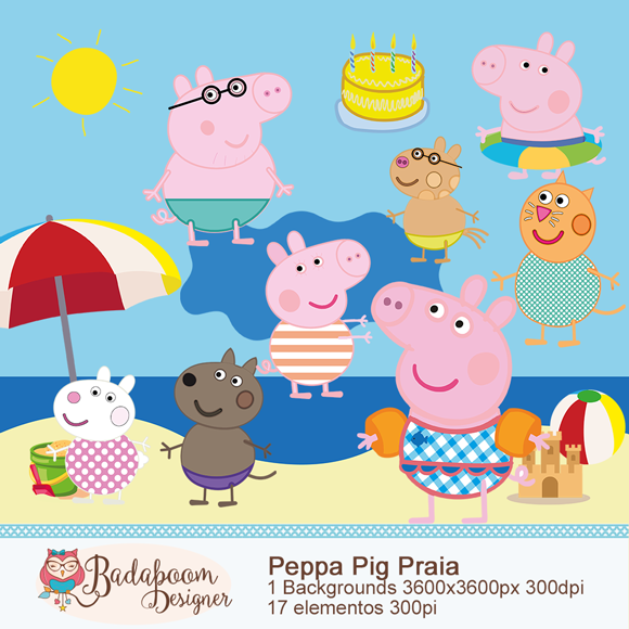kit digital, arte digital, scrap, scrapbook, peppa pig, peppa pig praia, fundo, personagens, elementos, artesanato peppa, background