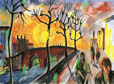 Erich Heckel, Strassenszene an der Brucke, 1916, tempera on canvas, 50 x 70cm