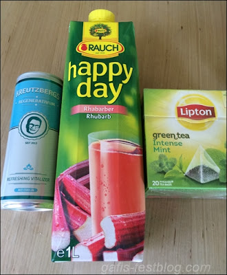 Kreutzbergs Regenerativum, Rauch Happy Day Rhabarber und Lipton green tea Intense Mint