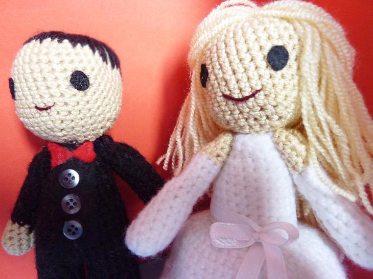 Bride & Groom Wedding Amigurumi Love Dolls | 547x730