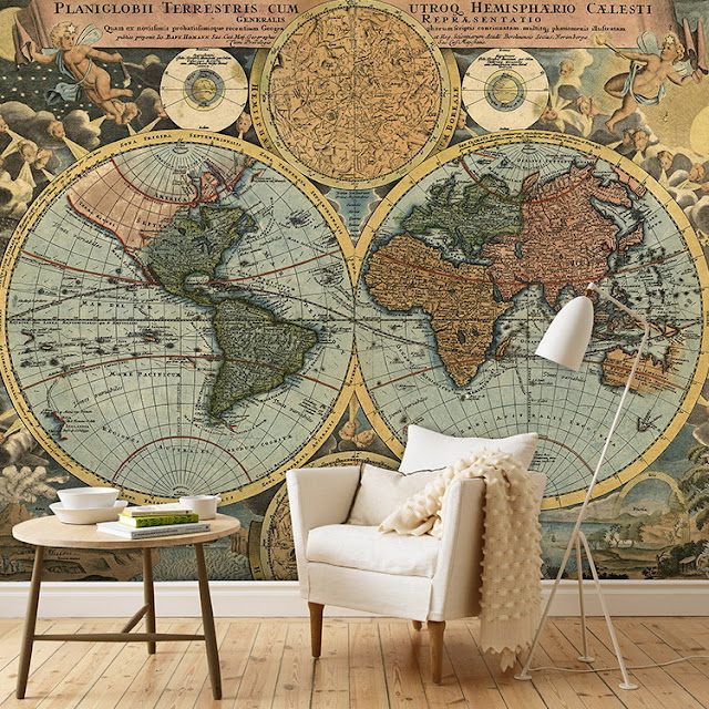 World Map Wall Mural Wall Wallpaper Old Antique
