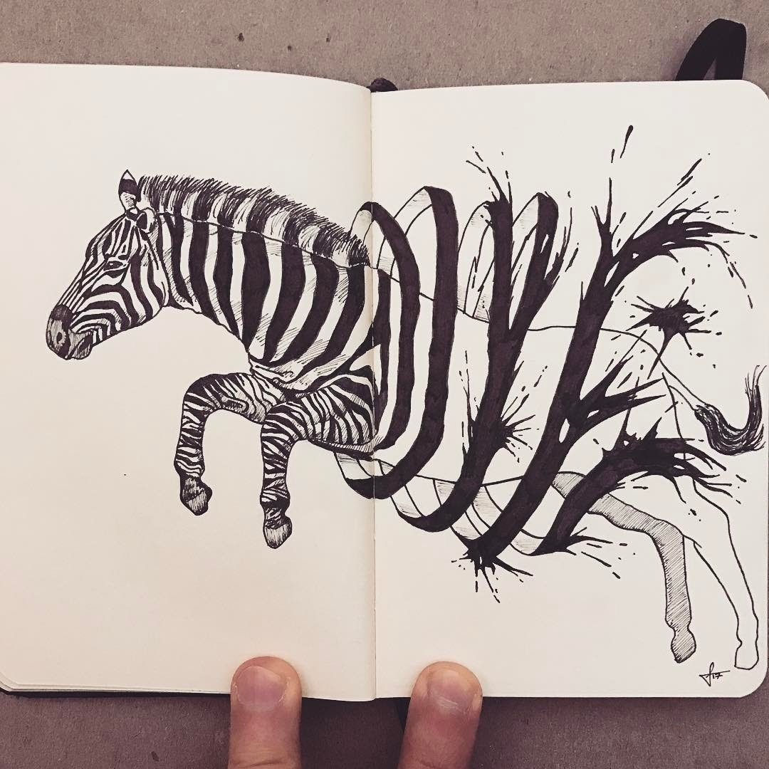 11-Running-Out-of-Ink-Francisco-Del-Carpio-Moleskine-Black-and-White-Ink-Drawings-www-designstack-co