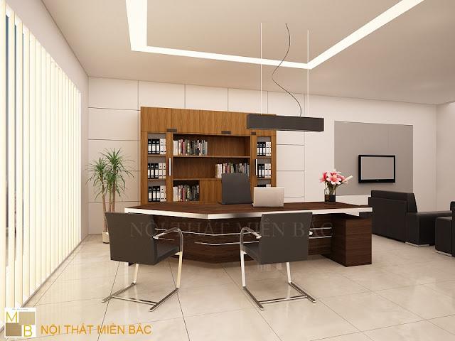 Thiết kế nội thất phòng giám đốc với chất liệu từ gỗ cao cấp, màu nâu lịch lãm cũng kiểu dáng mạnh mẽ, sản phẩm này chắc chắn sẽ khiến nhiều người mê mẩn.