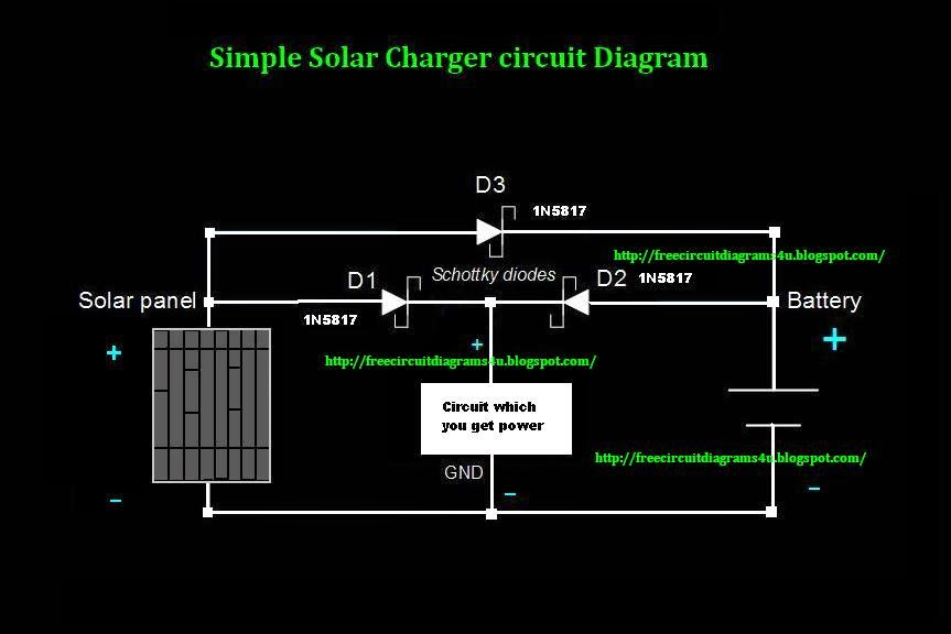 Free Circuit Diagrams 4u  Simple Solar Charger Circuit Diagram