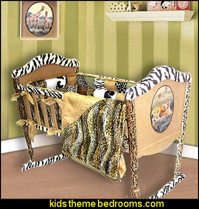 Designer Wildlife Cradle baby jungle safari themed nursery decorating ideas