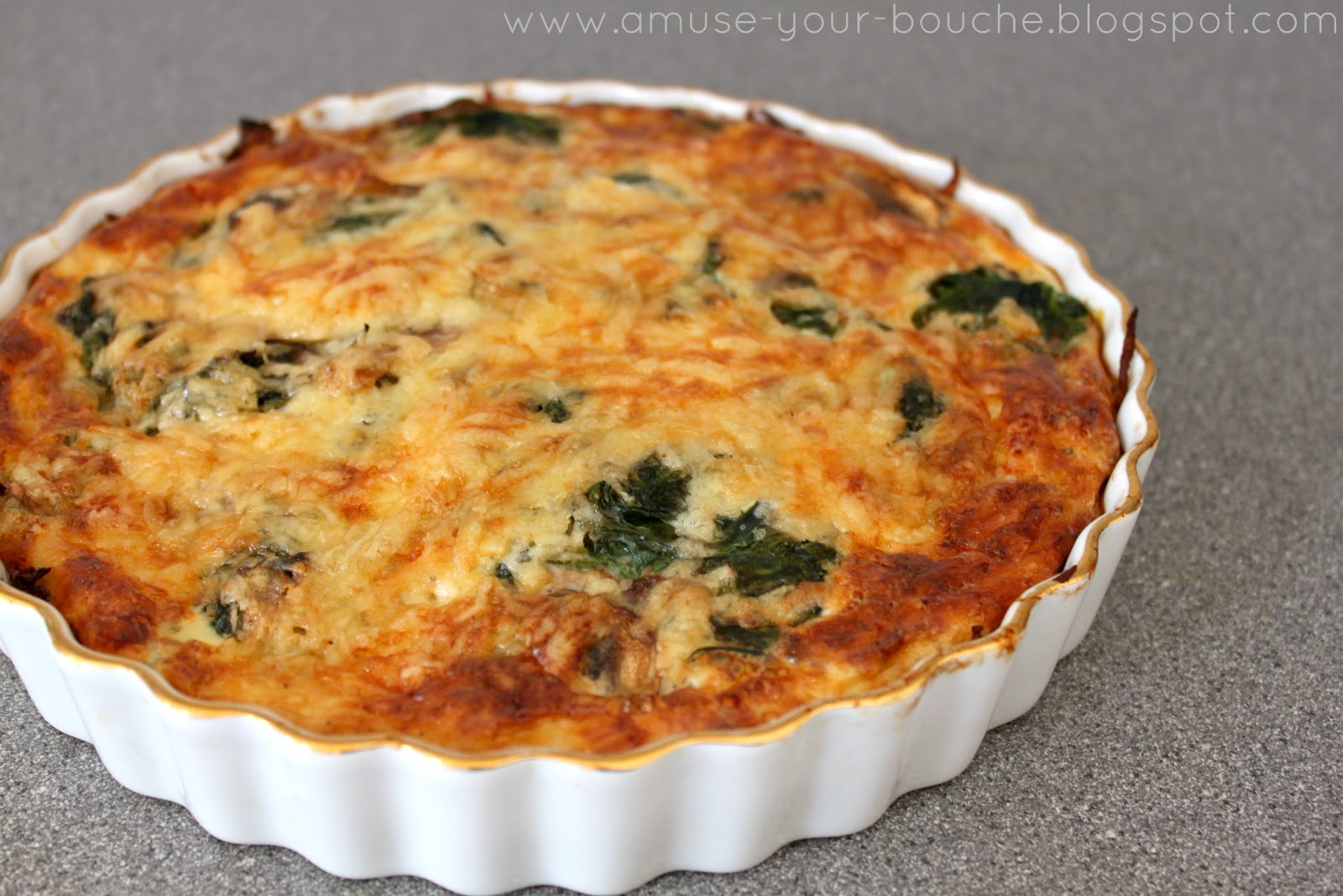 Spinach and mushroom quiche with potato hash crust - Amuse Your Bouche