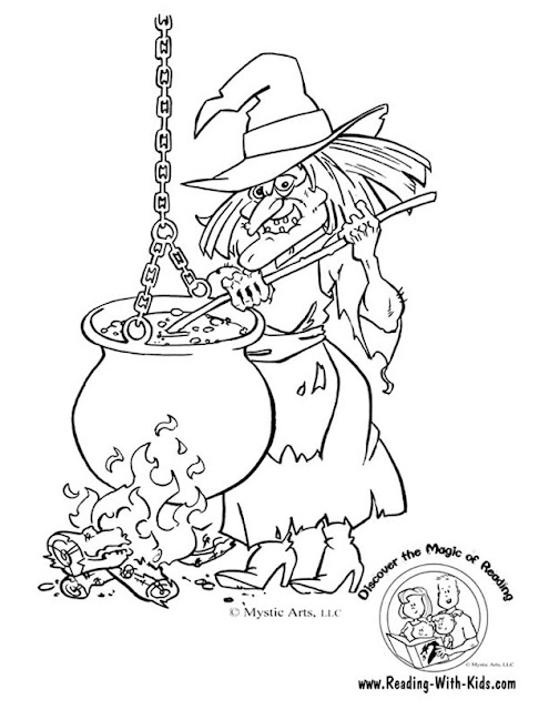 Free witch hat and cauldron printable coloring page templates for kids and adults