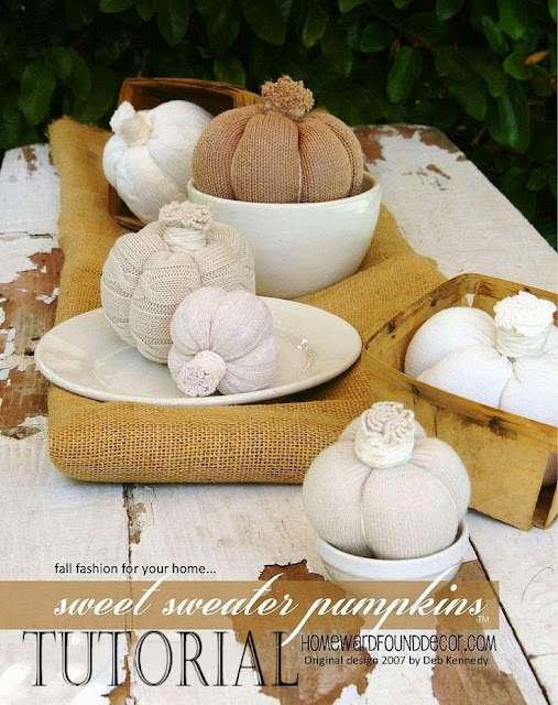 Better Homes & Gardens Magazine, fall, original designs, pumpkins, re-purposing, sweaters, Sweet Sweater Pumpkins, thrifted, tutorial, original designs, Sweet Sweater Originals, HOMEWARDfound Decor