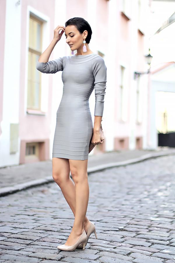 gray bandage dress