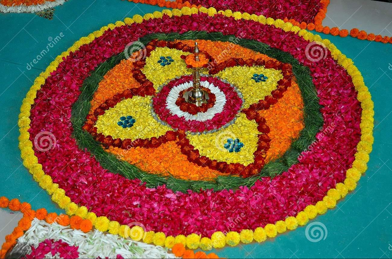 Latest Rangoli Design 2016 With Flowers Happy Diwali Images