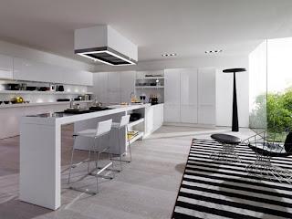 Cocina moderna blanco con negro