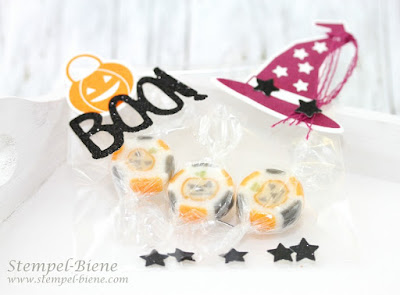 halloweenverpackung, halloweengeschenke, halloweenbonbons, stempel-biene, partygeschenke halloween, stampin up bestellung, stampin up katalog