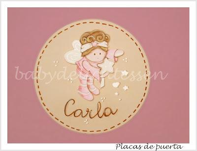 placa de puerta infantil hada ricitos nombre Carla babydelicatessen