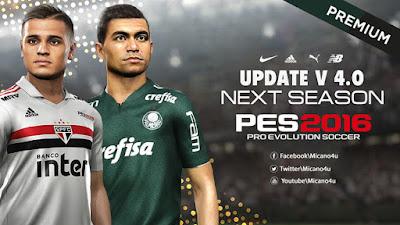 PES 2016 Next Season Patch 2019 + Update v4.0 Season 2018/2019