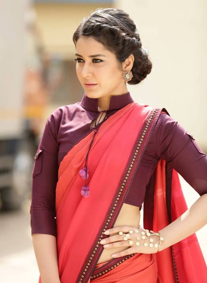 South Indian Hot Actress Rashi Khanna Hip Navel Photo shoot In Red Saree