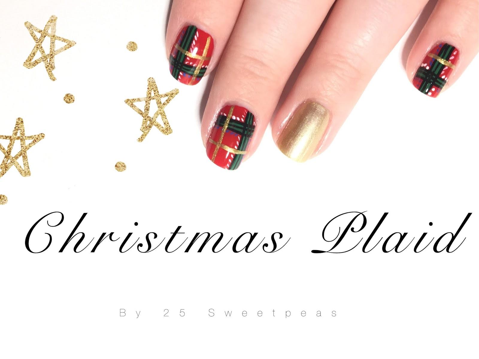 Christmas Plaid Nail Art - 25 Sweetpeas
