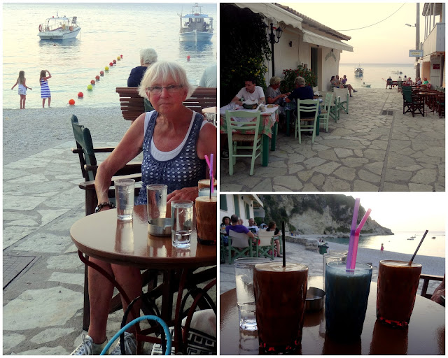 Greek frappe Agios Nikitas Village in Lefkada Island, Greece