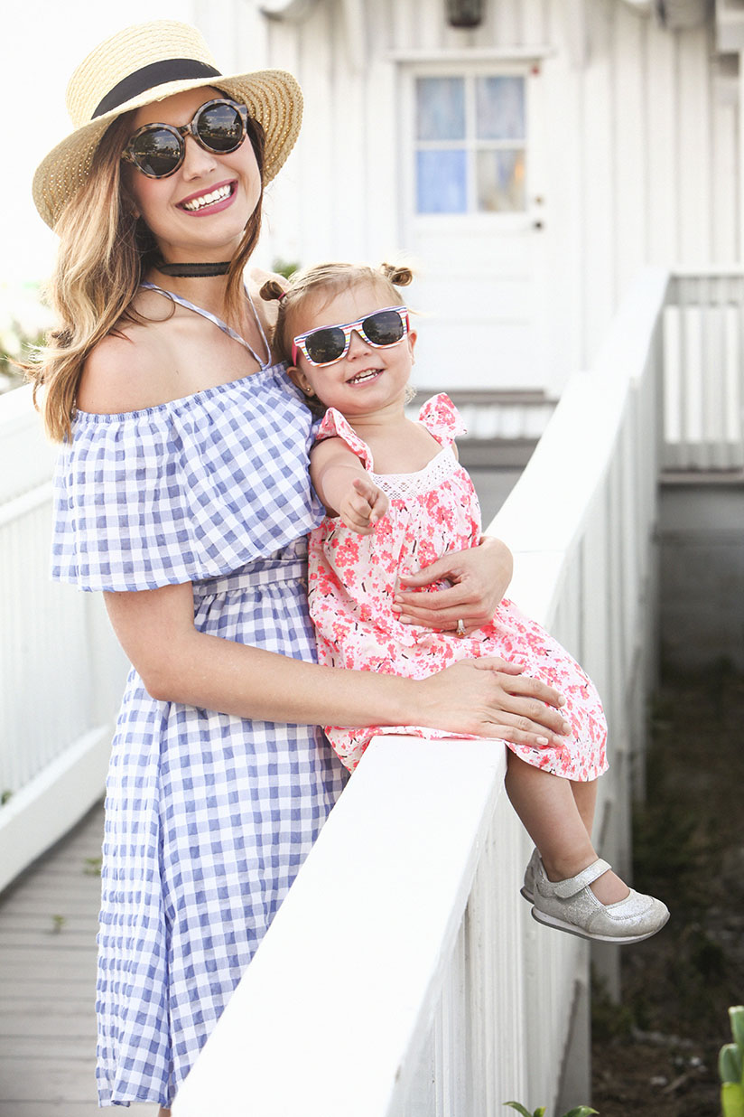 Amy West and daughter London in spring dresses