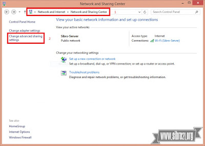 Pertama setting dulu share nya di laptop 1 buka Control Panel > Network and Internet > Network and Sharing Center > klik Chane advanced sharing settings