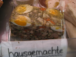 Hausgemachte means homemade. Not sure what this is but I didn't try it. It just looked interesting.