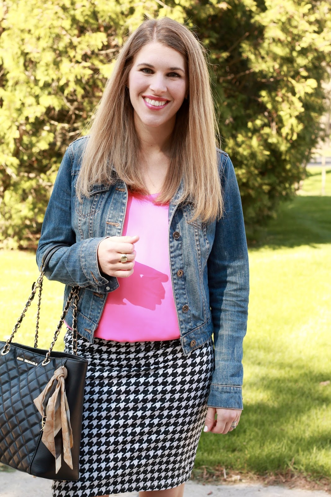 pink Barcelona cami, houndstooth skirt, black flats, denim jacket, Greg Michaels tote, summer work outfit